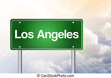 Los Angeles Green Road Sign, Travel Concept