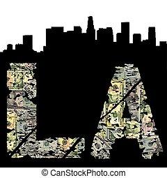 Los Angeles grunge dollar text with skyline illustration