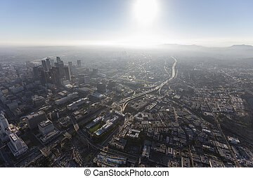 Los Angeles Hazy Summer Afternoon Aerial