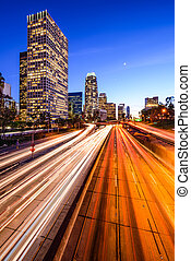 Los Angeles Highway Cityscape - Los Angeles, California, USA...