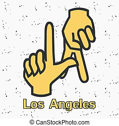 Los Angeles. LA. Hands gesture.