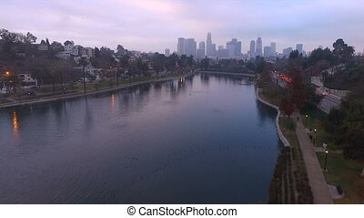 Los Angeles Local Park Lake Rush Hour Traffic Downtown City Skyline Fog
