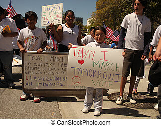 LOS ANGELES - May 1: May Day Immigration Protest Rally Against Arizona's New Law in Los Angeles, California.