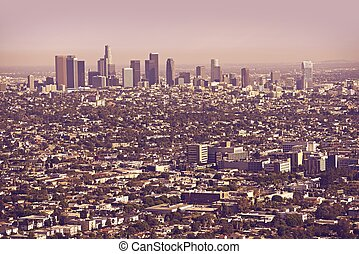 Los Angeles Metro Area Panorama. Los Angeles, California,...