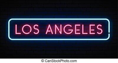 Los Angeles neon sign. Bright light signboard. Vector...