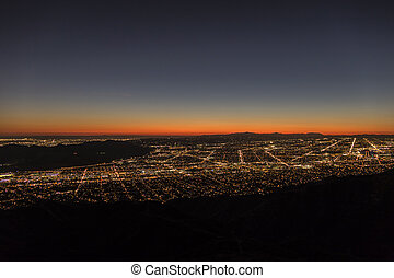 Los Angeles Night Aerial Cityscape