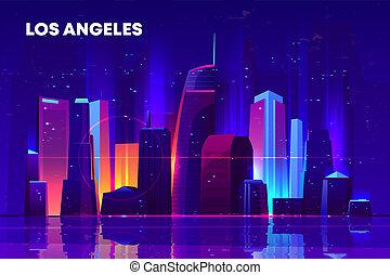 Los Angeles night city with neon illumination.