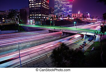 Los Angeles Night Traffic. Late Night Commute in Downtown...