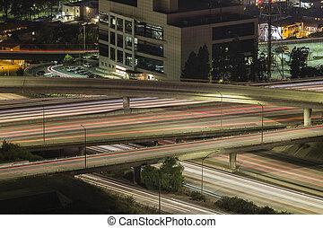 los angeles, noturna, auto-estrada, tráfego