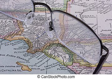 Los Angeles on a vintage map with reading glasses