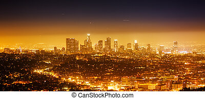 Los Angeles panorama - Los Angeles cityscape panorama at...