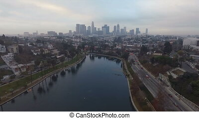 los angeles, park, sø, eftermiddag, trafik, downtown, skyline city