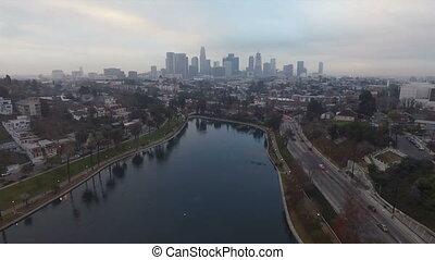 los angeles , park, see, nachmittag, verkehr, stadtzentrum, stadt skyline