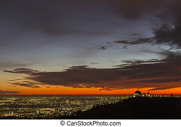 Los Angeles Red Sunset Cityscape