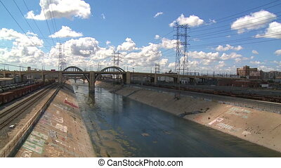Los Angeles River - Time lapse of clouds passing over LA...