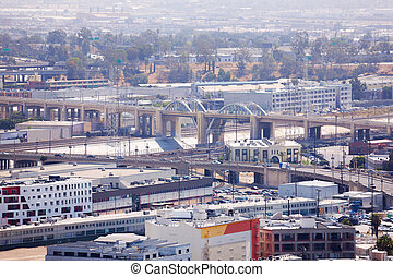 Los Angeles River with cityscape view during day