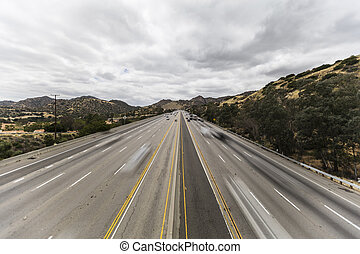 Los Angeles San Fernando Valley Freeway with Motion Blurred Vehicles