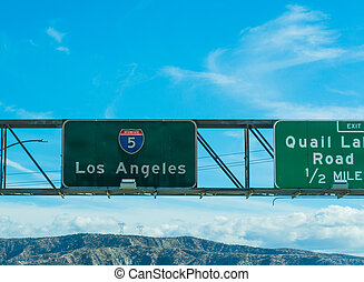 Los Angeles sign in Interstate 5 southbound
