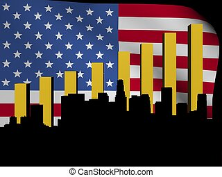 Los Angeles skyline and graph over American flag illustration