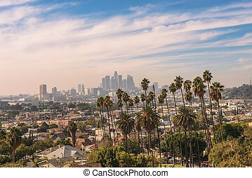 Los Angeles skyline at sunset with palm trees in the foreground