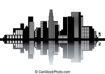 Los Angeles skyline - black and white vector illustration
