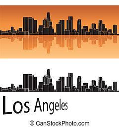 Los Angeles skyline in orange background in editable vector file
