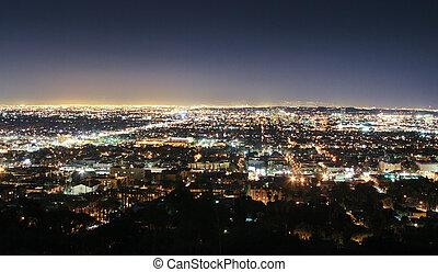 los angeles skyline, op de avond