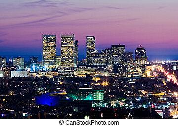 los angeles skyline, op, dusk., aanzicht, van, eeuw stad,...