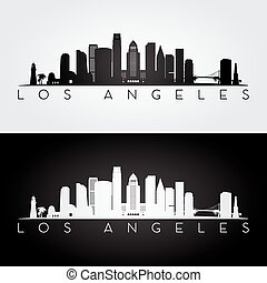 Los Angeles USA skyline and landmarks silhouette, black and white design, vector illustration.