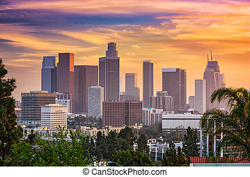Los Angeles Skyline - Los Angeles, California, USA downtown...
