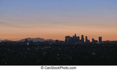Sunrise of Downtown Los Angeles skyline with heat haze