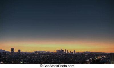 Los Angeles Skyline Sunrise - Sunrise Timelapse of Downtown...