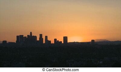 Los Angeles Skyline Sunrise - Sunrise Timelapse with heat...