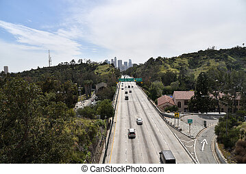 The Harbor freeway leading into Los Angeles