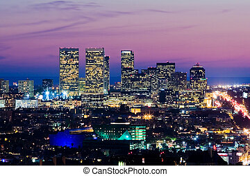 los angeles skyline, v, dusk., názor, o, setnina velkoměsto,...