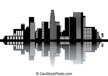 Los Angeles skyline - black and white vector illustration