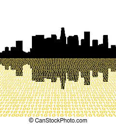 Los Angeles skyline with binary