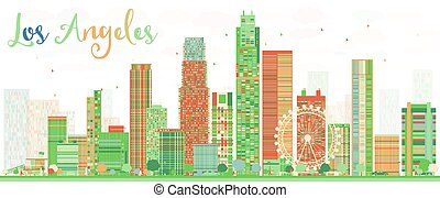 Los Angeles Skyline with Color Buildings.