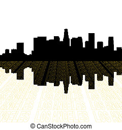 Los Angeles skyline with perspective text outline foreground