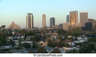 Los Angeles skyscraper in the morning sun
