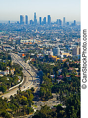 Los Angeles skyscrapers and Hollywood