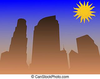 Los Angeles smog - Los Angeles skyline with smog...