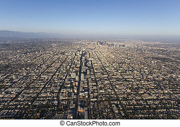 Los Angeles Smoggy Summer Afternoon Aerial
