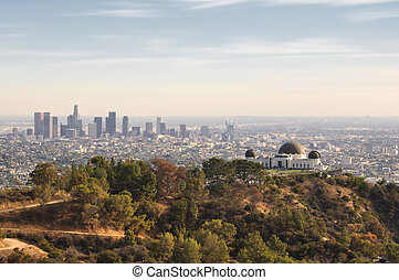 Los Angeles, California, USA downtown skyline from Griffith...
