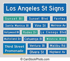 Vector illustration of the most famous Los Angeles street signs