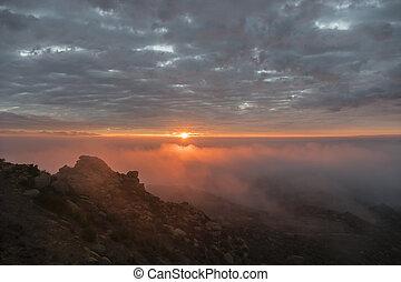 los angeles, tågede, solopgang