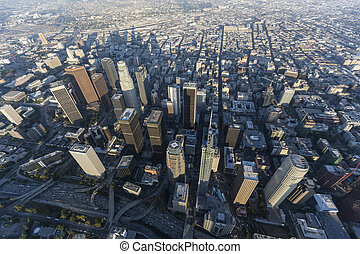 Los Angeles Towers Afternoon Aerial