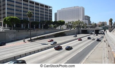 Los Angeles Traffic - Busy highway in downtown Los Angeles