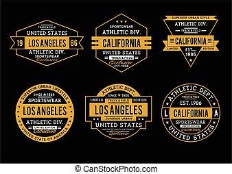 Los Angeles Typography Graphics Logos set, T-shirt Printing Design