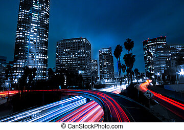 Los Angeles, Urban City at Sunset with Freeway Traffic -...